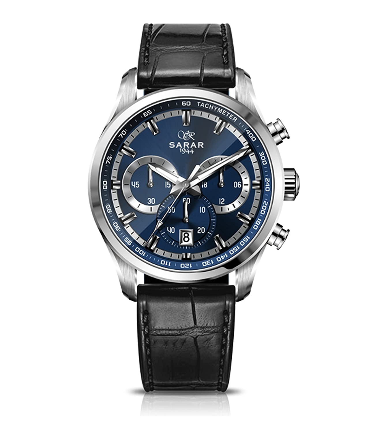 SARAR-TIME Deep-Blue Chronograph SR-1110 Echtleder