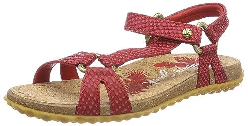 Caribeña Snake, Sandalias con Punta Abierta Para Mujer, Rojo, 36 EU Panama Jack