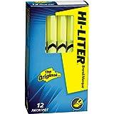 HI-LITER Pen Style, Chisel Tip, Fluorescent Yellow, Box of 12 (23591)