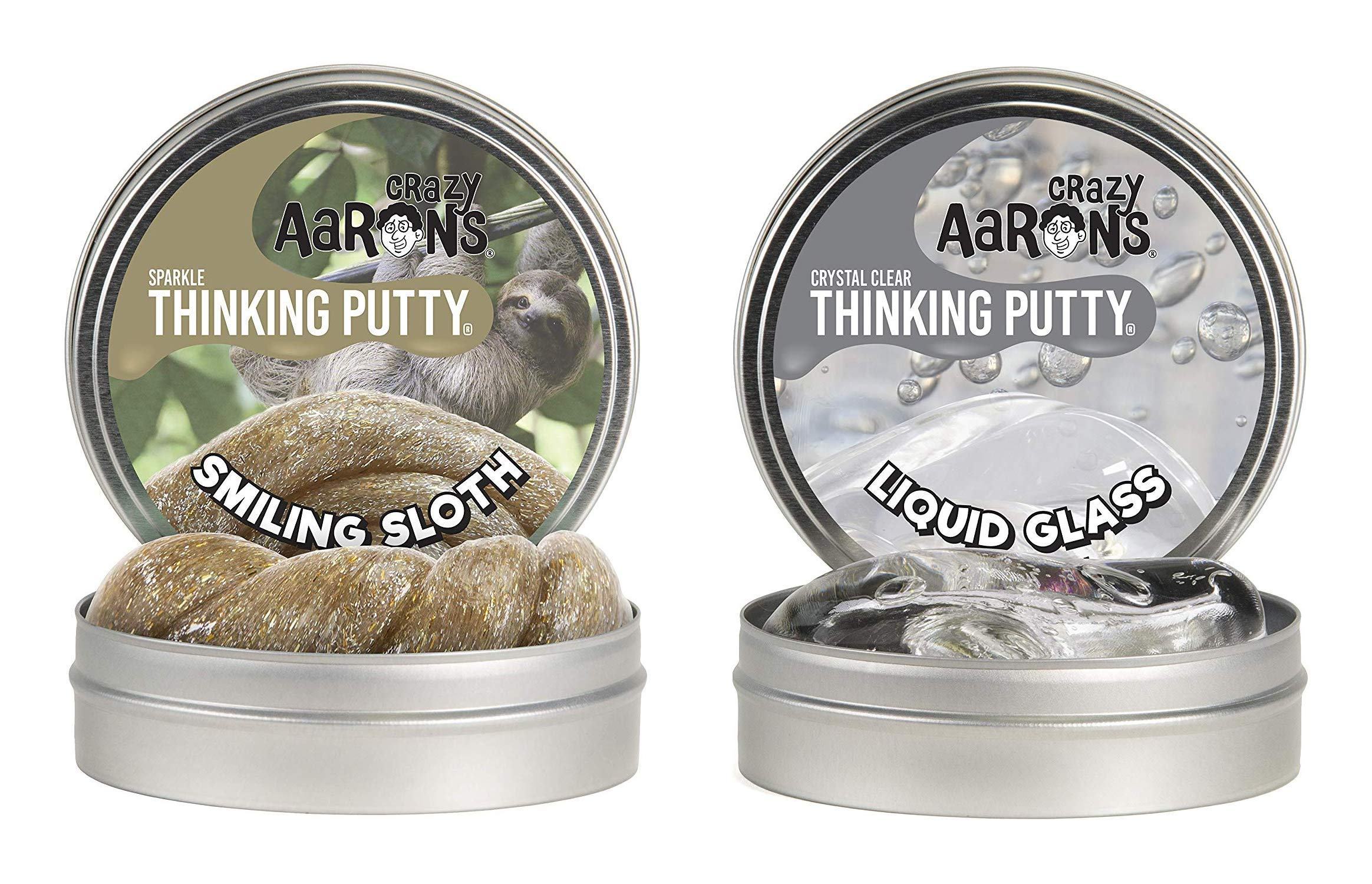 Crazy Aaron's Thinking Putty 4'' Tin Double Pack (6.4 oz) - Liquid Glass andSmiling Sloth- Crystal-Clear, See-Through and Sparkle Glow Putty - Never Dries Out by Crazy Aaron's
