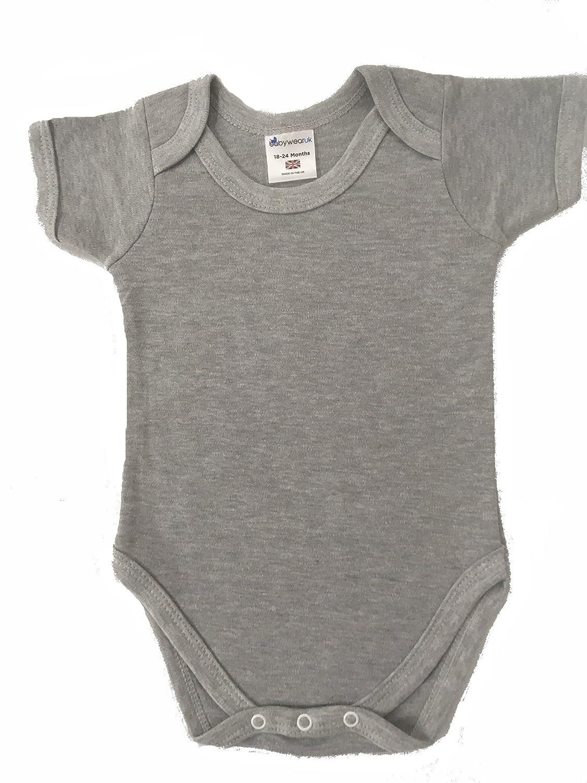 fa929f320e70 BabywearUK Body Vest Env Neck Short Sleeved - Grey Marl - 3-6 Months ...
