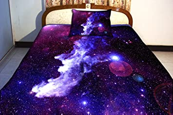 Anlye Luxury Home Decor Bedding Set 2 Sides Printing Purple Nebula Quilt Cover Nebula Bed Linen