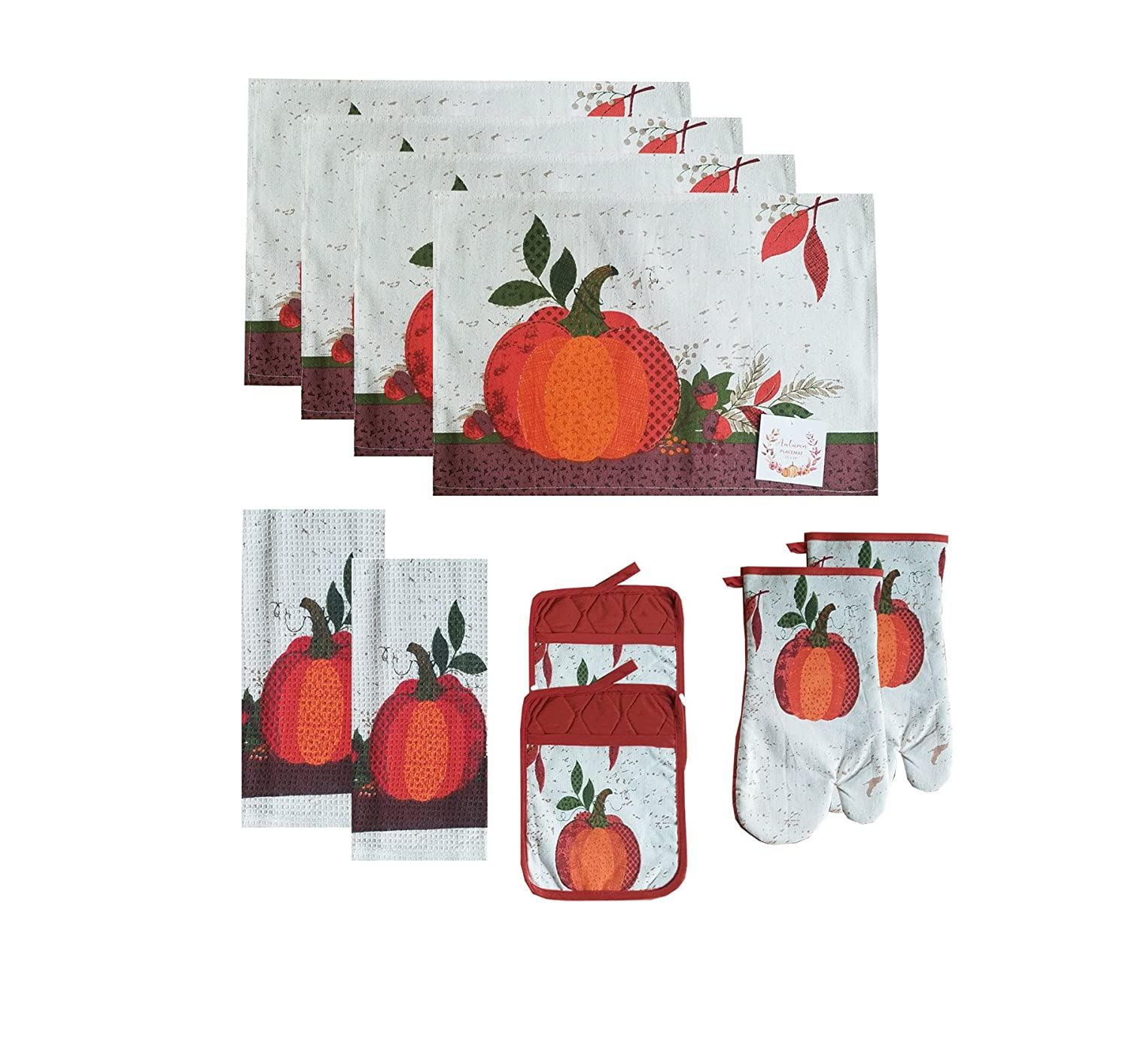 SeasonsEasy Pumpkin Kitchen Linen Set -4 Placemats, 2 Towels, 2 Pocket Potholder, and 2 Oven Mitt Tapestry, 10 Piece Set for Fall and Thanksgiving Decorating