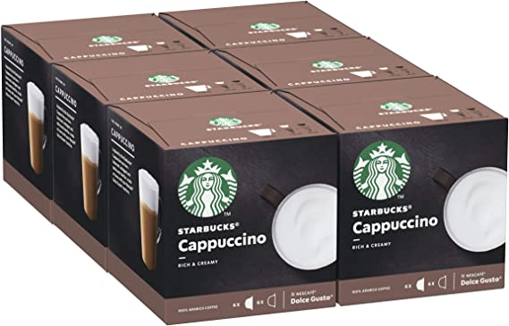 Starbucks Cappuccino By Nescafe Dolce Gusto Coffee Pods 12 Capsules Pack Of 6 Total 72 Capsules 36 Servings