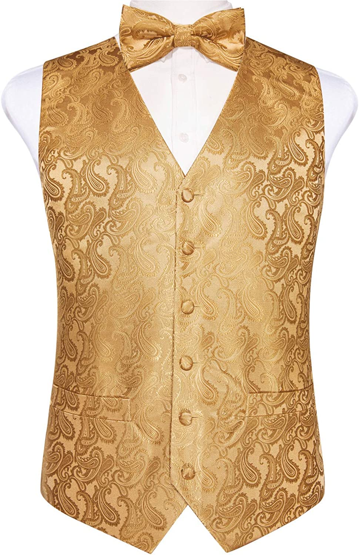 DiBanGu Mens Paisley Suit Vest Set 6 PCS Jacquard Formal Tuxedo Waistcoat and Tie Fashion Accessories