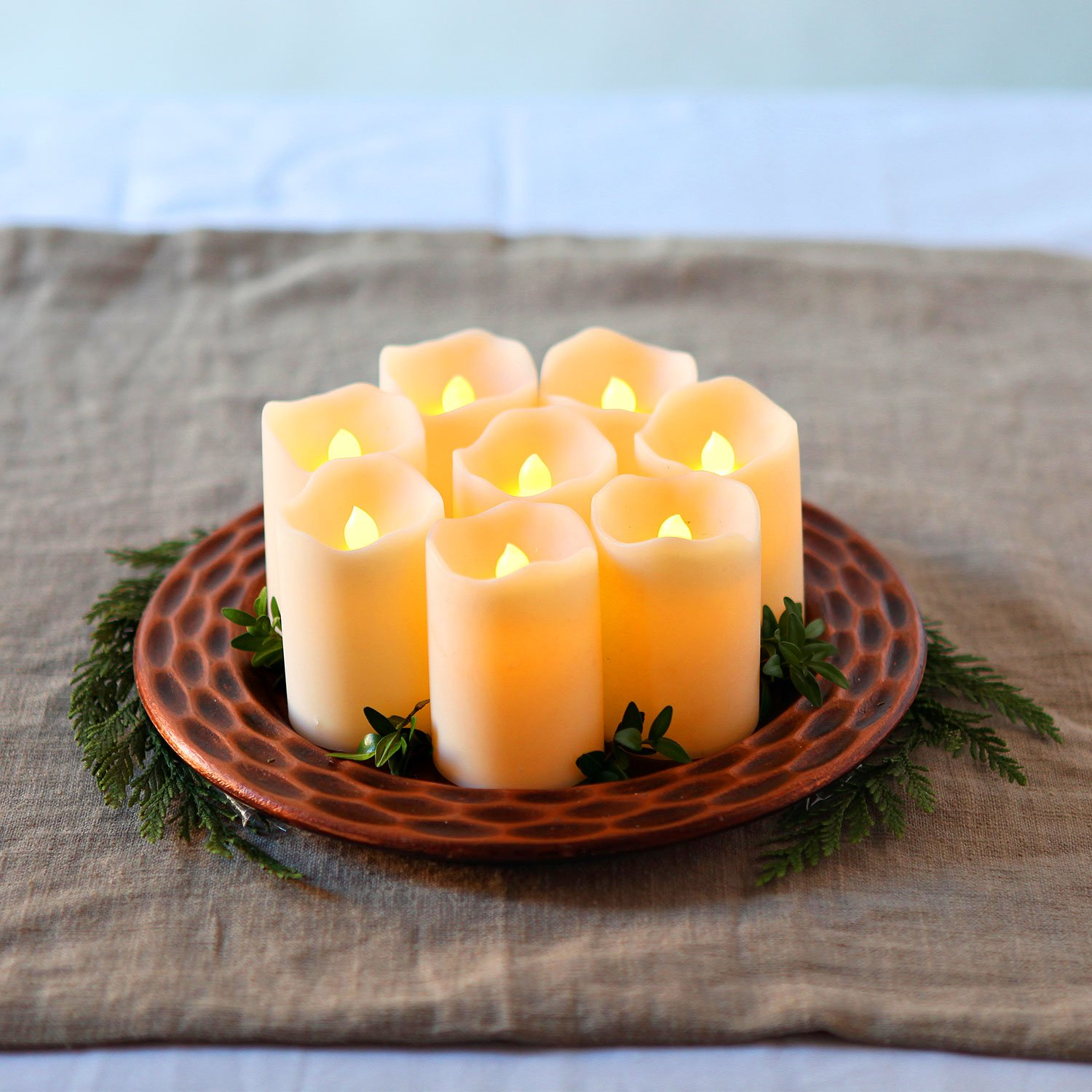8 Ivory 3'' Flameless Votives with Warm White LEDs, Mini Wax Candles, Melted Edge, Batteries Included by LampLust (Image #7)