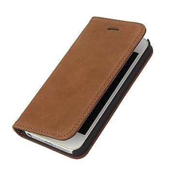 Wormcase Handytasche kompatibel mit iPhone 5-5S-SE – ECHTLEDERHÜLLE - HANDGEFERTIGT - KARTENFACH – MAGNETVERSCHLUSS – Braun -