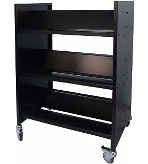 FixtureDisplays Metal Book Cart Library Cart Pew Cart Mobile Book Storage School Book Organier 18465