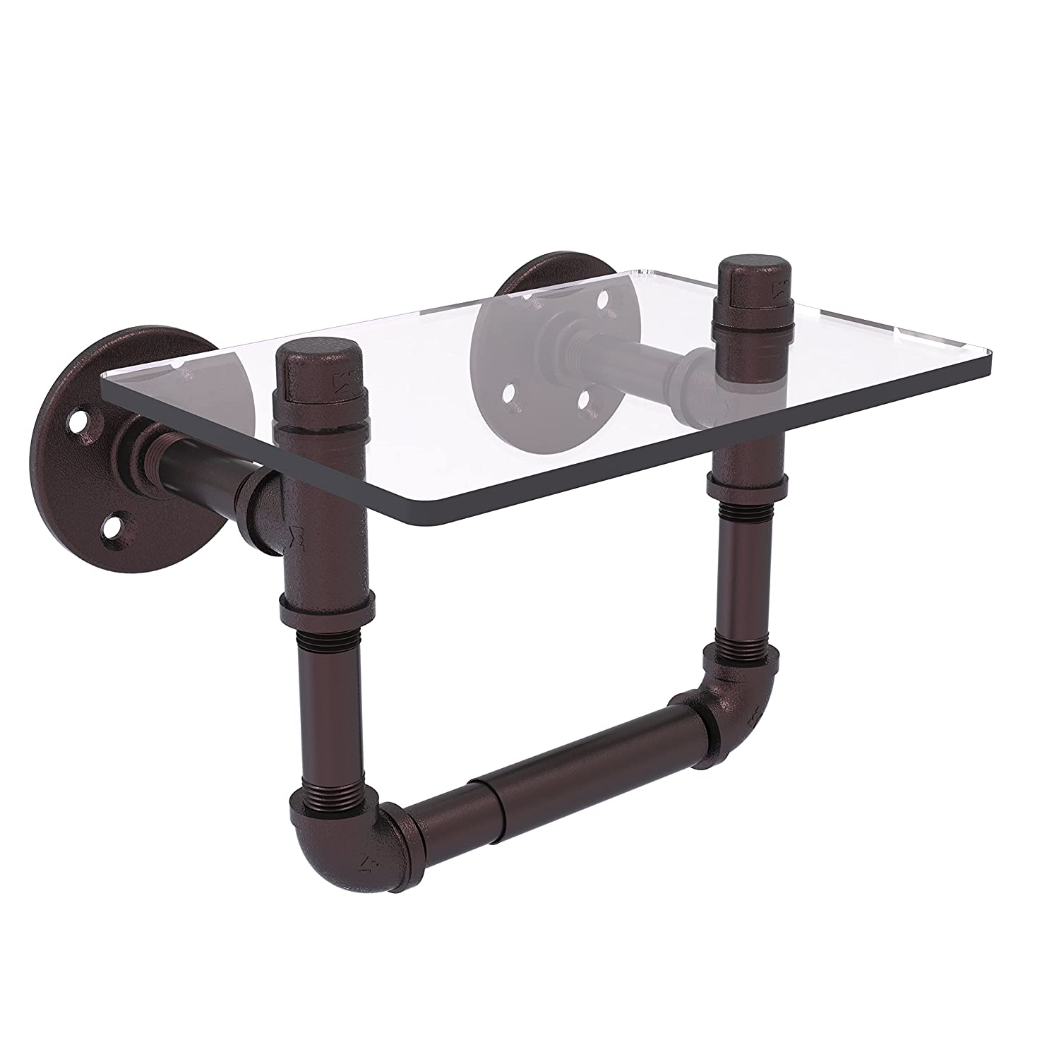 Allied Brass P-130-TPGS-ABZ Pipeline Collection Toilet Tissue Holder with Glass Shelf Antique Bronze