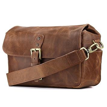 MegaGear MG1332 Genuine Leather Camera Messenger Bag for Mirrorless Instant DSLR  Cameras - Brown 0e2c48057b47f