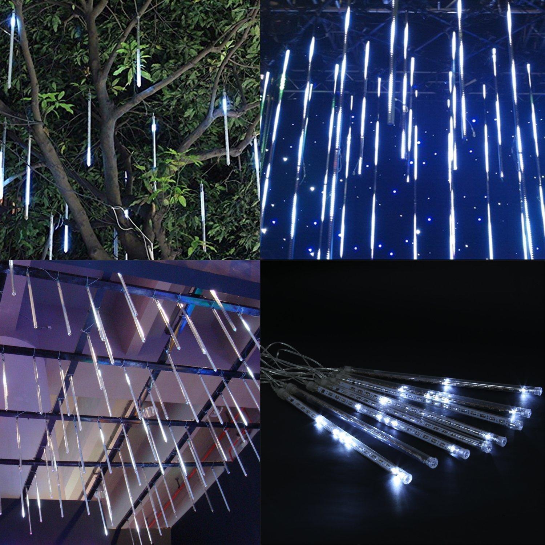 30cm 10 Tubo 360LED Pioggia Luci,DINOWIN Meteor Luci Impermeabili Solare Decorazione luci a Sospensione per Esterni Giardino Festa di Nozze alberi di Natale Colore
