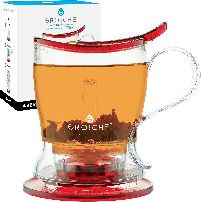 GROSCHE Aberdeen PERFECT TEA MAKER set with coaster, Tea Steeper, Teapot, Tea Infuser, 17.7 oz. 525 ml, EASY CLEAN Steeper, BPA-Free, RED tea pot
