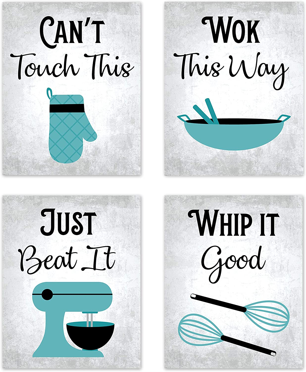 "80s Music Songs Retro Vintage Inspirational Kitchen Wall Art Dining Room Cafe and Restaurant Decor Turquoise Teal Blue Black Gray and White Baking Prints Posters Signs Sets Retro Home Decorations Funny Sayings Quotes Unframed (Set of 4) 8""x10"""