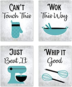 """80s Music Songs Retro Vintage Inspirational Kitchen Wall Art Dining Room Cafe and Restaurant Decor Turquoise Teal Blue Black Gray and White Baking Prints Posters Signs Sets Retro Home Decorations Funny Sayings Quotes Unframed (Set of 4) 8""""x10"""""""