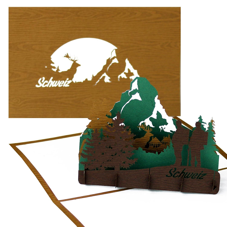 3d pop up tarjeta Suiza (Madera) -
