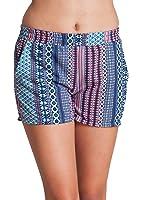 Woman Multi Color Pattern Print 2 Pockets Banded Waist Shorts