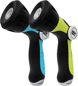 Aqua Joe AJHN100-QC-2-BLU One Touch Hose Nozzle w/Smart Throttle, 2PK, Colors Will Vary