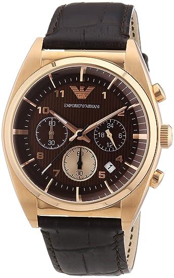 Emporio Armani AR0371 - Reloj cronógrafo de cuarzo para hombre, correa de cuero color marrón