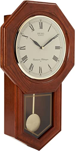 Seiko Wall Pendulum Schoolhouse Clock Dark Brown Solid Oak Case