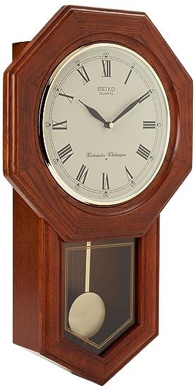 Seiko Reloj de Pared péndulo Escuela marrón Oscuro Roble Macizo Caso: Amazon.es: Relojes