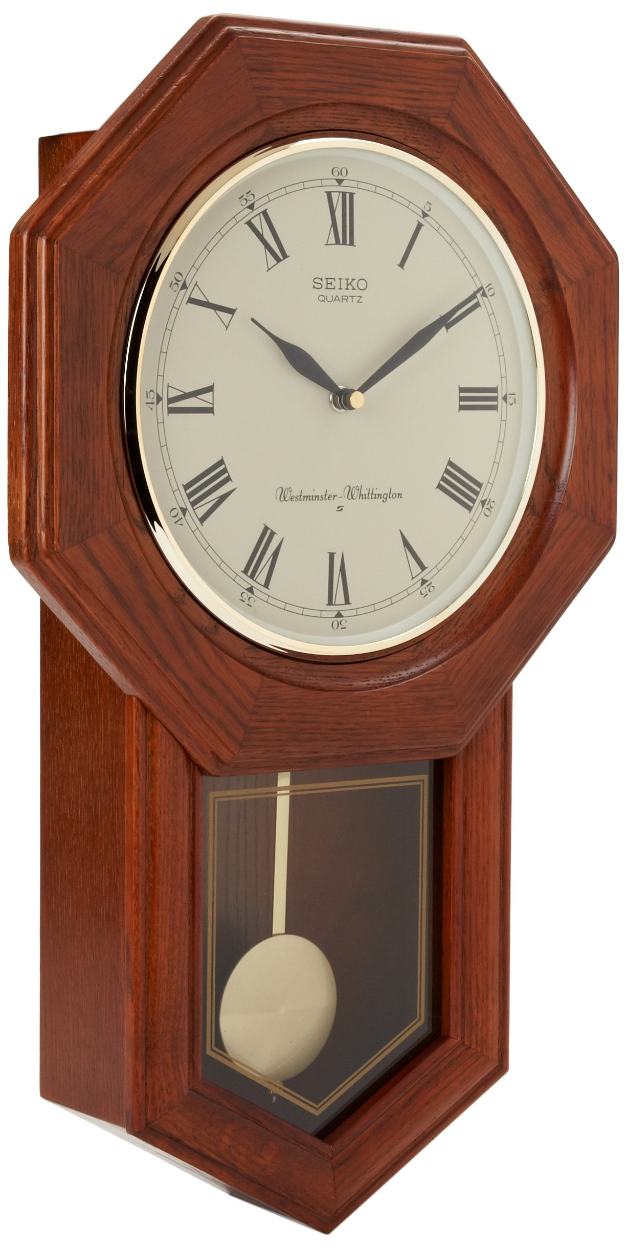 Seiko Wall Pendulum Schoolhouse Clock Dark Brown Solid Oak Case by Seiko
