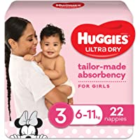 Huggies Ultra Dry Nappies, Girls, Size 3 Crawler (6-11kg), 22 Count