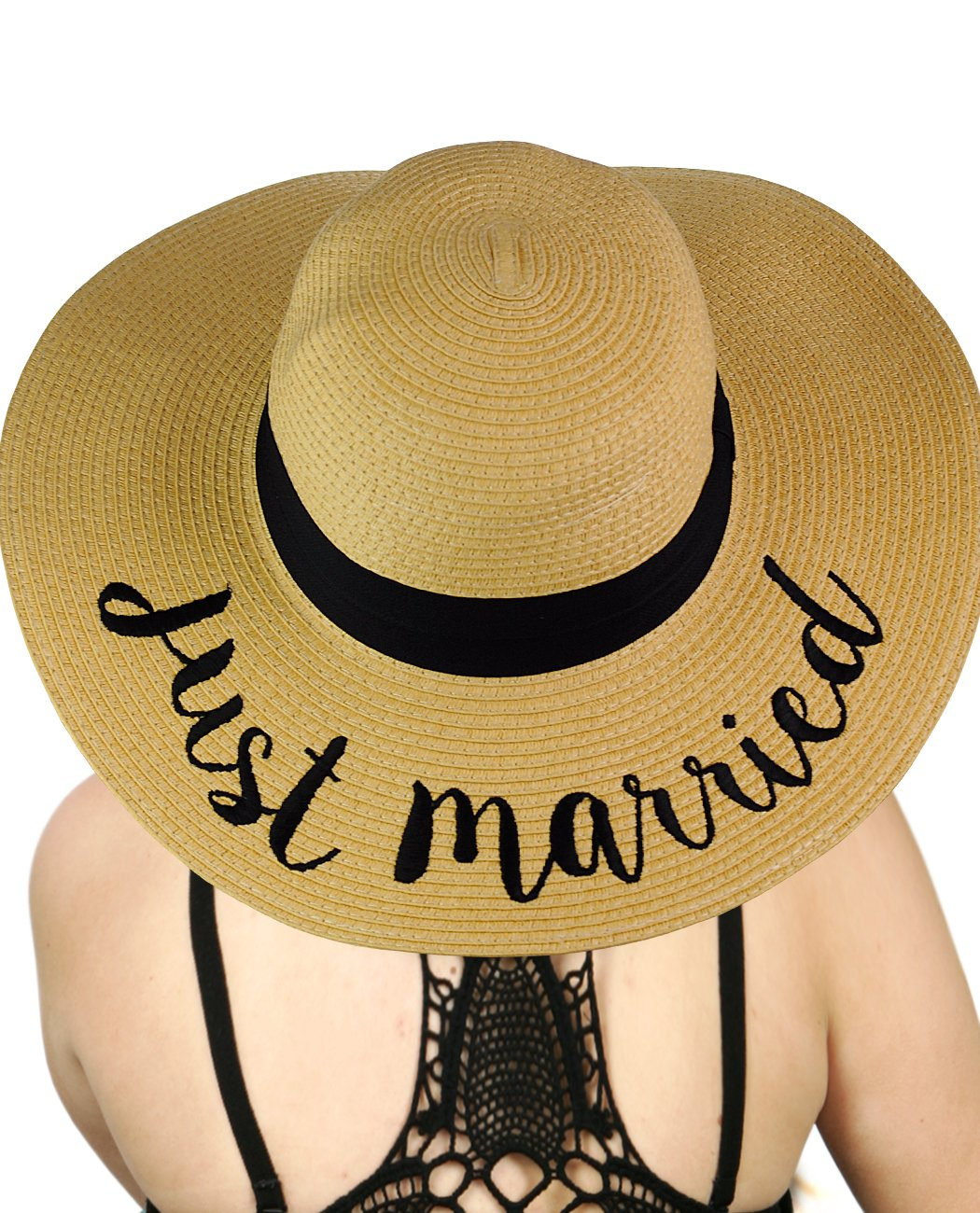 C.C Women's Paper Weaved Crushable Beach Embroidered Quote Floppy Brim Sun Hat, Just Married
