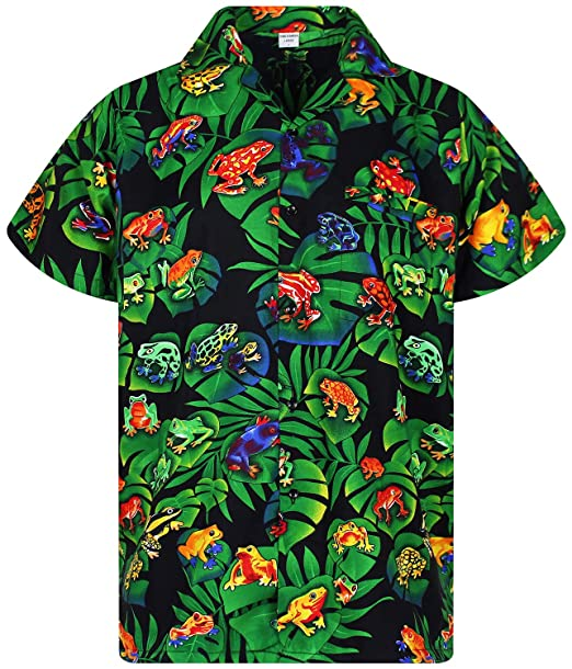 3fea13af8 Image Unavailable. Image not available for. Color: Funky Hawaiian Shirt,  Rainforest Frogs, black, XS