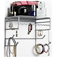 Wall-mounted Jewelry & Accessory Storage Rack Organizer Shelf for Hanging Earrings, Bracelets, Necklaces, & Hair Accessories