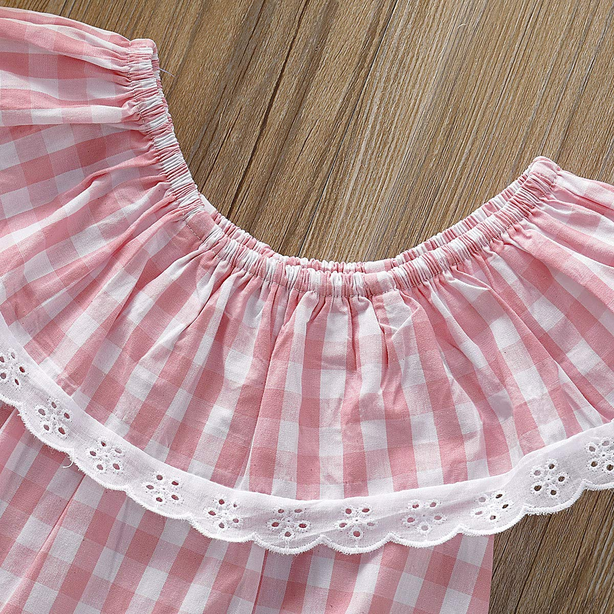 2019 Summer Infant Baby Girls Lace Ruffled Sleeveless Plaid Romper Pink Fresh Style Jumpsuit