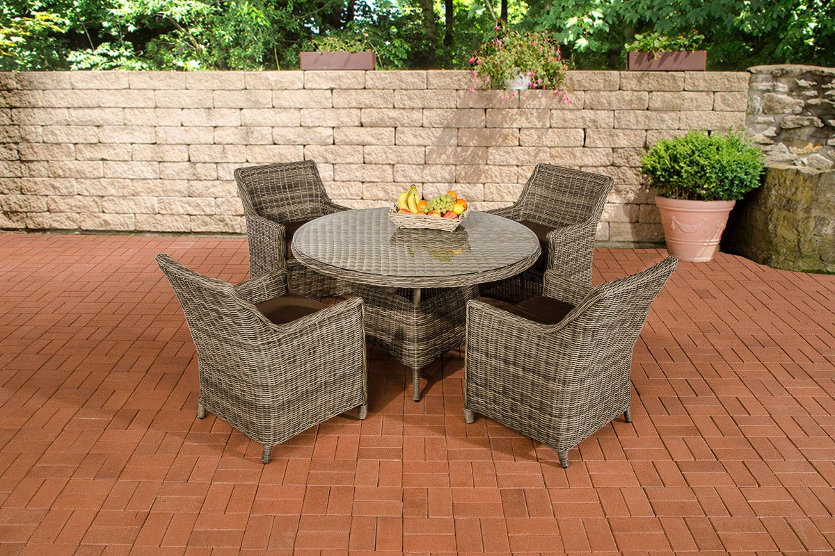 CLP Polyrattan Sitzgruppe BOVINO grau-meliert, rundes 5 mm Rattan, Aluminium Gestell (4 x Sessel Sandnes + runder Tisch Ø 130 cm + 10 cm dicke Sitzkissen) grau-meliert, Bezugfarbe terrabraun