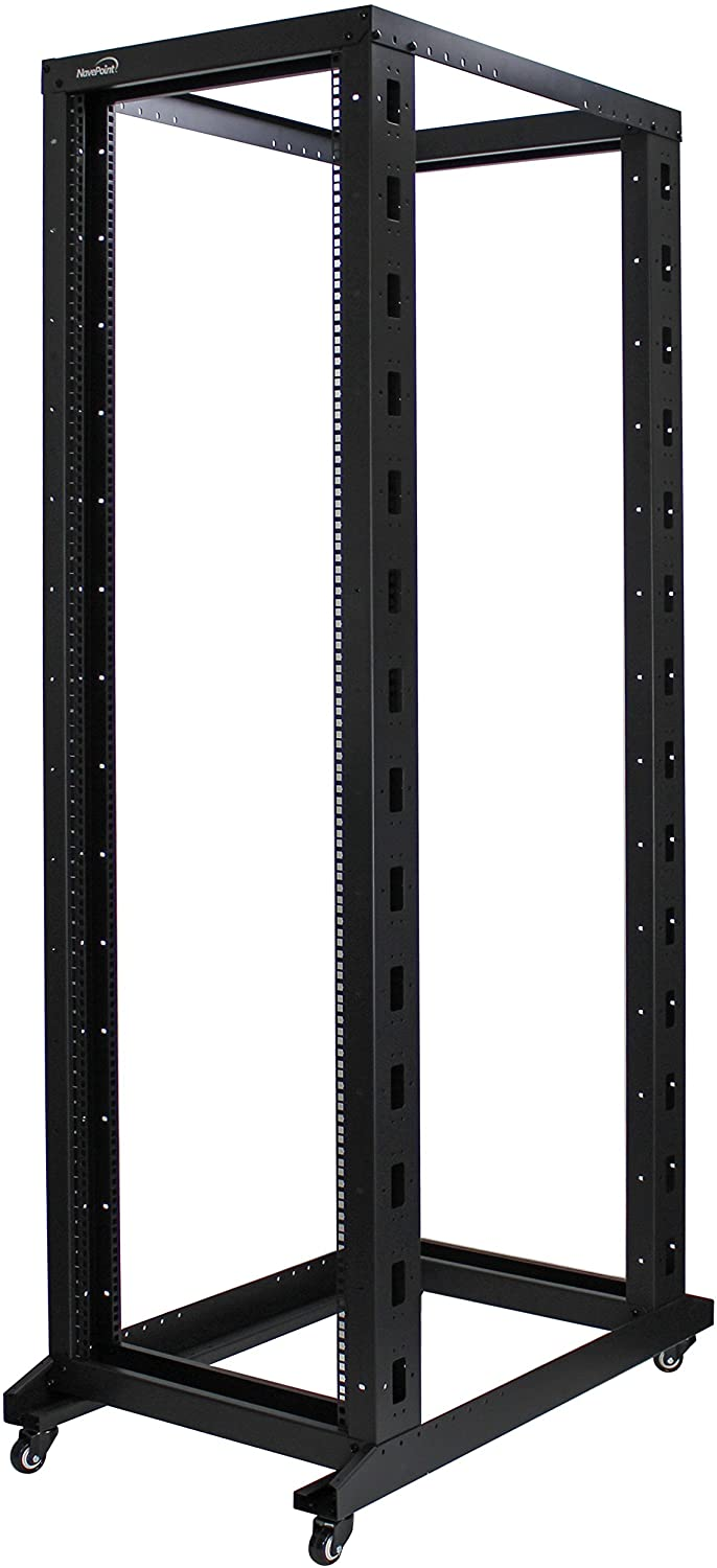 NavePoint 42U Professional 4-Post IT Open Frame Server Network Relay Rack 1000mm Casters Black