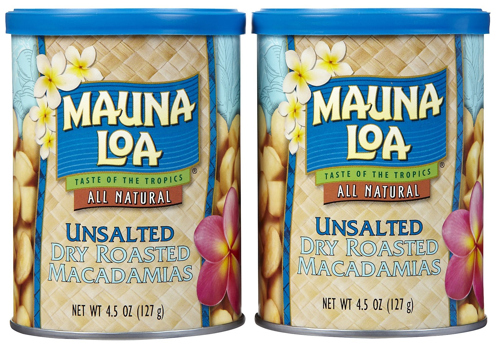 Mauna Loa Roasted Unsalted Macadamia Nuts Can, 4.5 oz, 2 pk