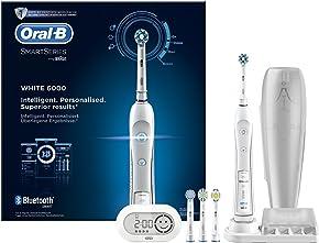 Oral-B Pro 6000 Smart Series - Cepillo de dientes eléctrico con tecnología de Braun, 1 mango, 5 modos, 4 cabezales de cepillo de dientes y 1 estuche de viaje