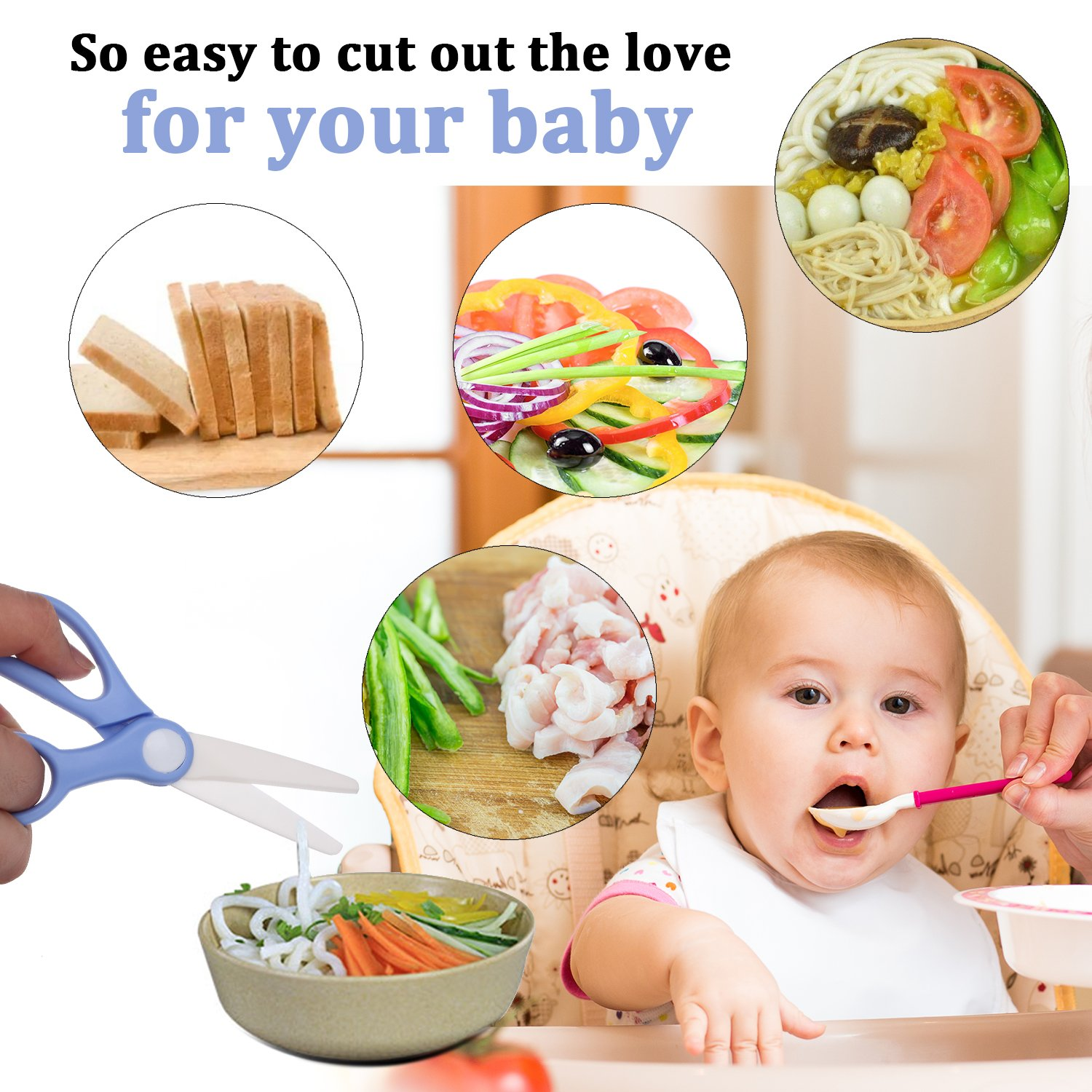Ceramic Scissors Healthy Baby Food Cutter with Cover Portable Shears (Blue) Love&Mini