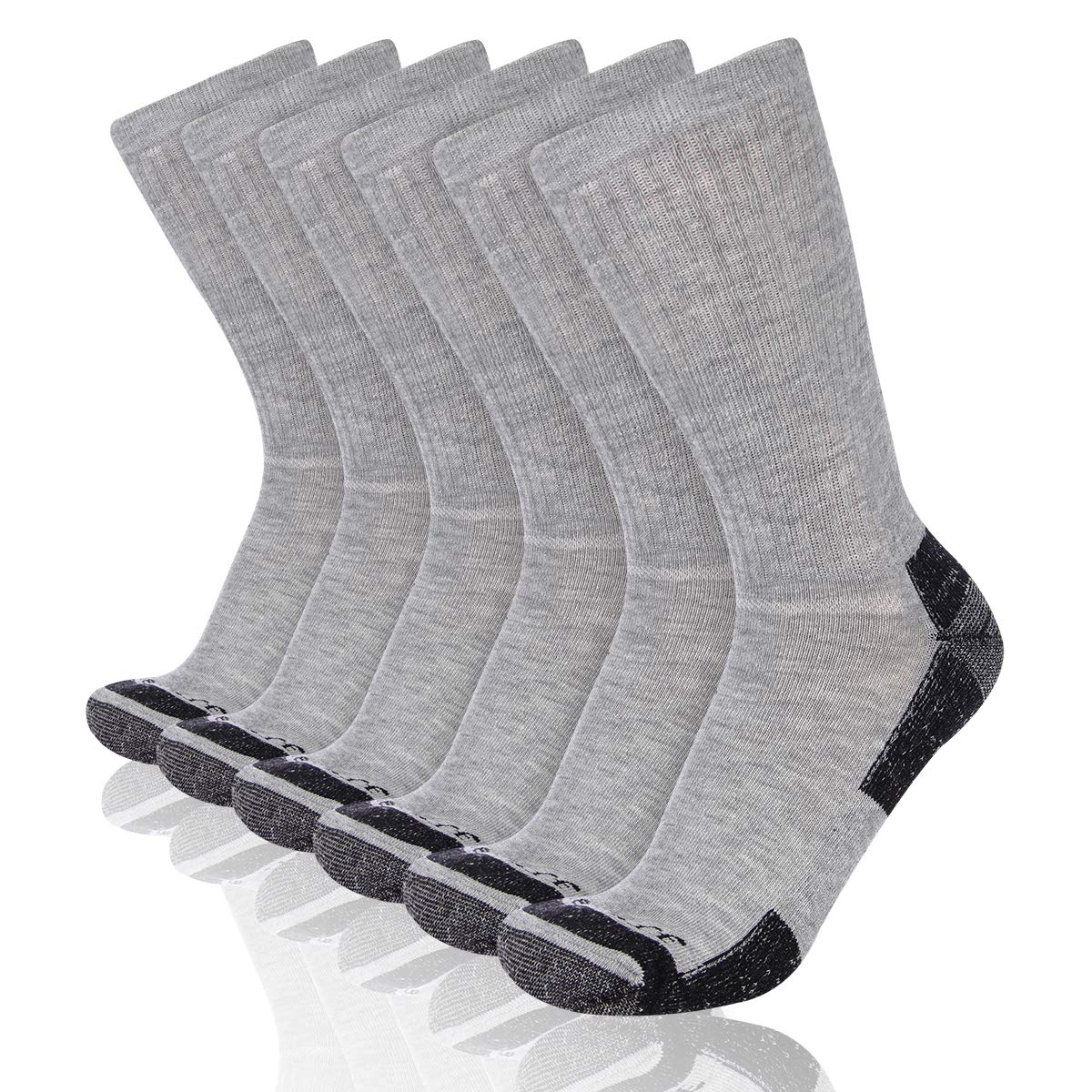Heatuff Mens 6 Pack Crew Athletic Work Socks With Cushion, Reinforced Heel & Toe For All Seasons