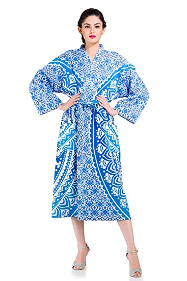 Ombre Mandala Womens Dressing Gown Belt Bath Robe Housecoat Ladies