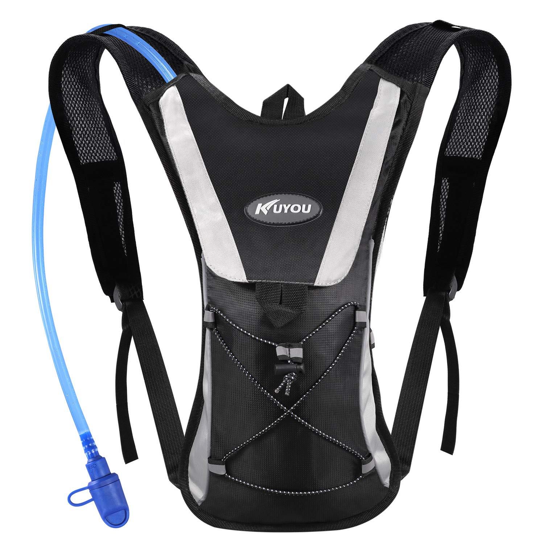 KUYOU Hydration Pack Water Rucksack Backpack Bladder Bag Cycling Bicycle Bike/Hiking Climbing Pouch + 2L Hydration Bladder,(Black+Water Pouch) by KUYOU