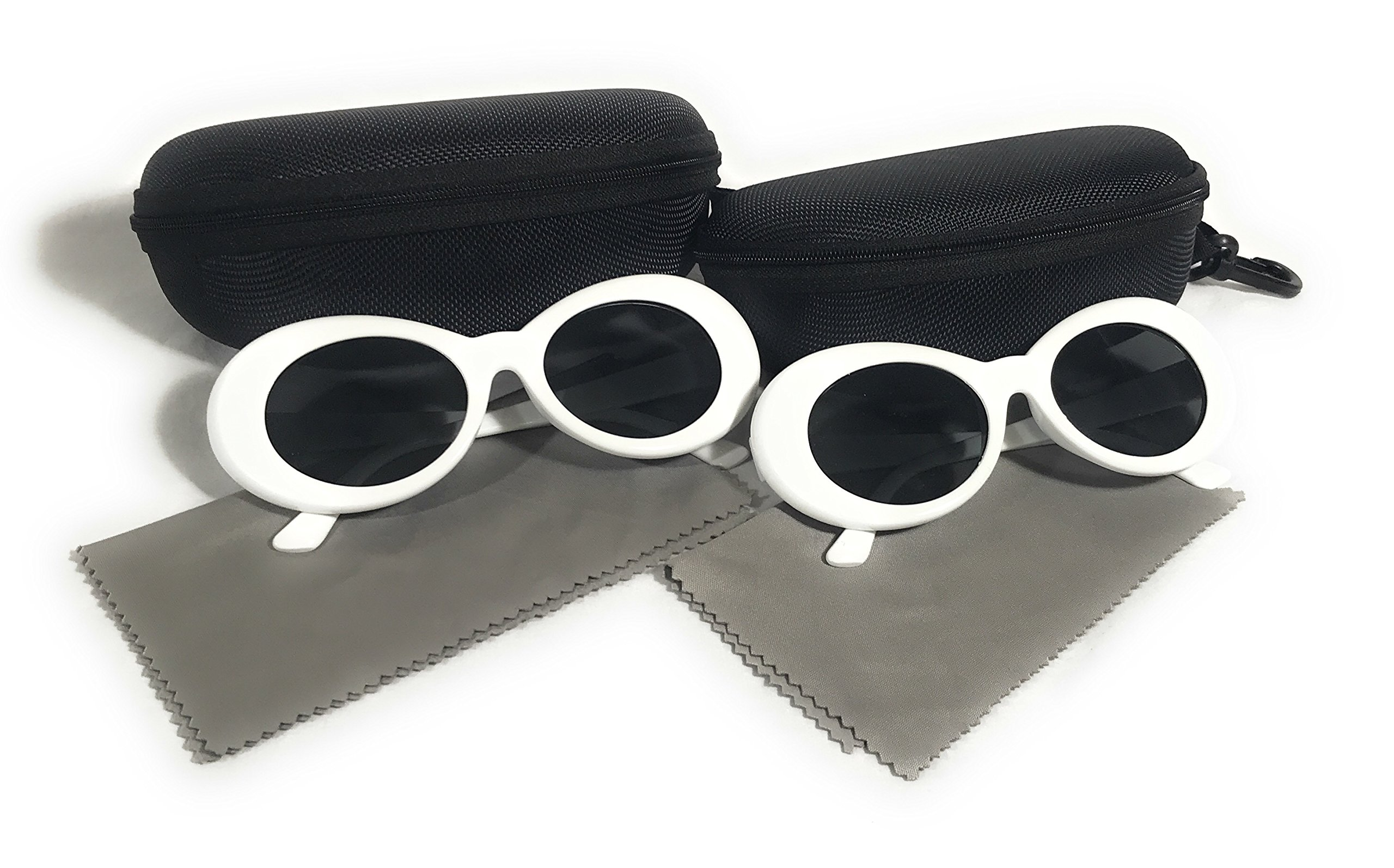 (2 PAIRS) Bold Retro Oval Mod Thick Frame Sunglasses Round Lens Clout Goggles