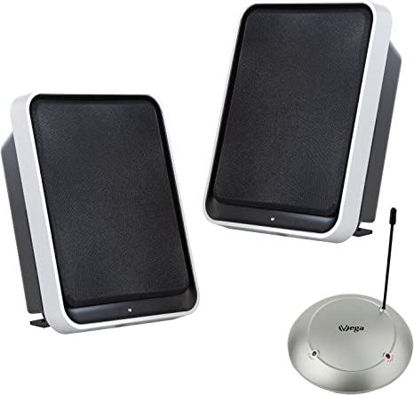 Altavoces estéreos inalámbricos VEGA-1380 con BASSBOOST (2 x 3,5 W RMS / 100 W PMPO / 100 m de Alcance/tecnología Plug&Play) para el salón y la terraza, sin Cables: Amazon.es: Electrónica