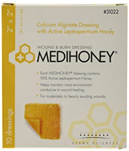 "Derma Sciences 31022 Medihoney Calcium Alginate Dressing, 2"" Width x 2"" Length (Pack of 10)"