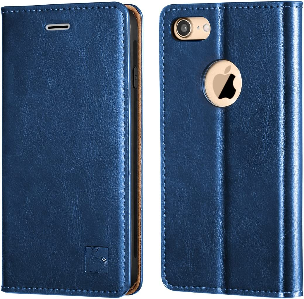 Belemay iPhone 8 Wallet Case, iPhone 8 Case, Genuine Cowhide Leather Flip Case [Slim Fit] Folio Cover [Durable Soft TPU Inner Case] Card Holder Slots, Kickstand, Cash Pocket Compatible iPhone 8, Blue