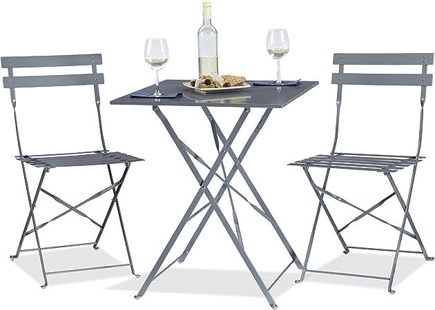 Sedie E Tavoli Da Bar Per Esterno.Relaxdays 10020794 111 Tavolo Da Bar Con 2 Sedie Pieghevole