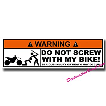 2 x glossy vinyl stickers warning bike motorbike funny joke 0055 as shown