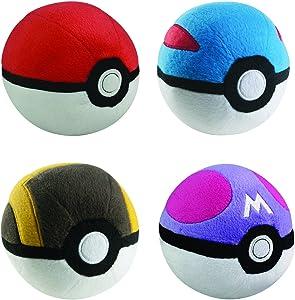 Poke Ball Collection 4pc Complete Plush Set - PokeBall GreatBall UltraBall MasterBall 5 inch Plush