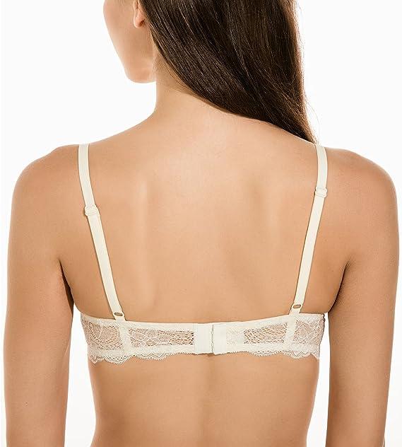 da81ed28d Gnowann Women s Lightly Padded Underwire Lace Back T-Shirt Bra at Amazon  Women s Clothing store