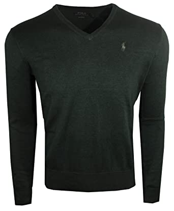 8f7c872b75a6bf Polo Ralph Lauren Mens Pima Cotton V-Neck Sweater (Medium, Pine Green (Pine  Pony)) at Amazon Men's Clothing store: