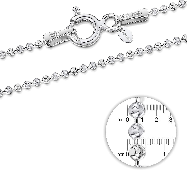 Maille Boule Diamant/ée Largeur 1.2 mm Collier Longueur 40 45 50 55 60 70 80 90 cm Cha/îne Argent 925//1000 Amberta/® Bijoux