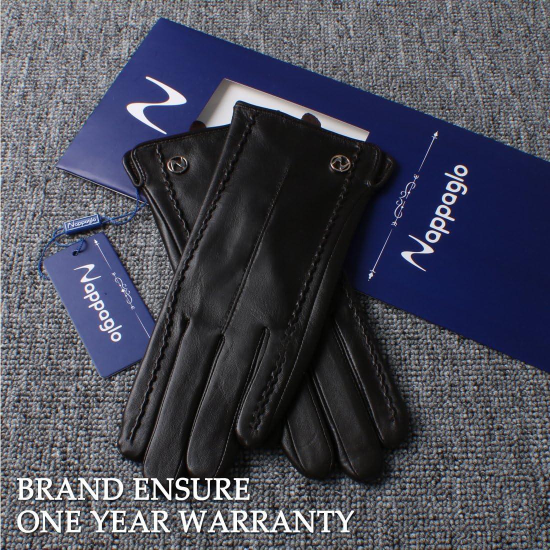 Nappaglo Damen klassische Handschuhe aus echtem Nappaleder Reines Kaschmir-Futter Winter Warm Handschuhe
