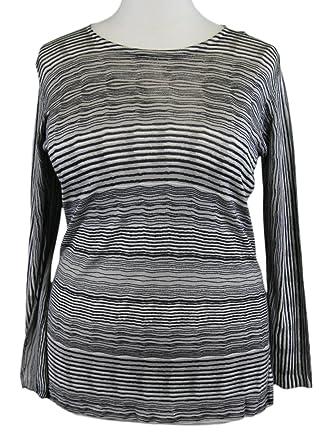 e97c464f129 Marina Rinaldi by MaxMara Divisor Ice Beige Striped Crewneck Sweater ...